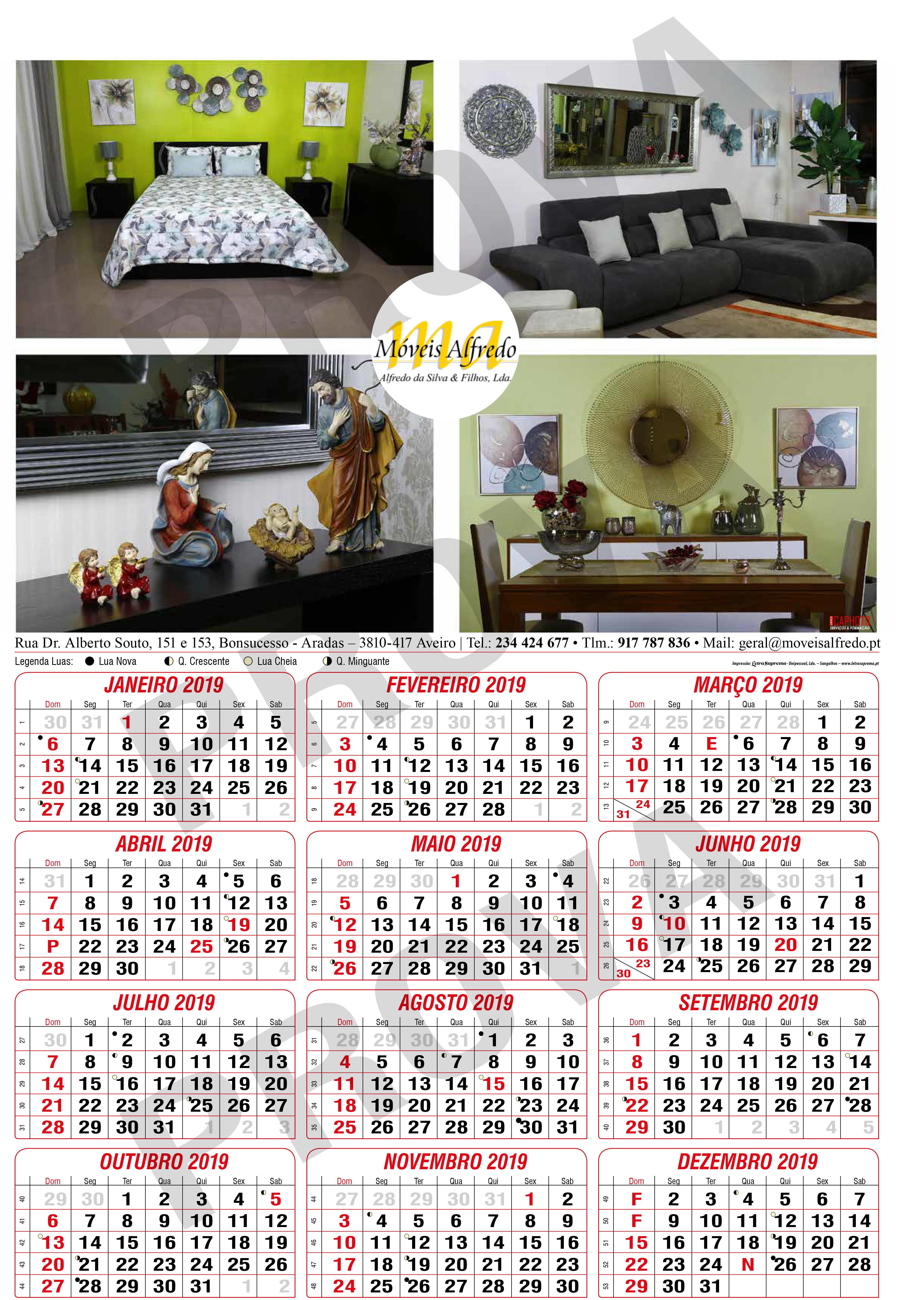 Projeto Calendário Personalizado Office CAPhoto para cliente Móveis Alfredo